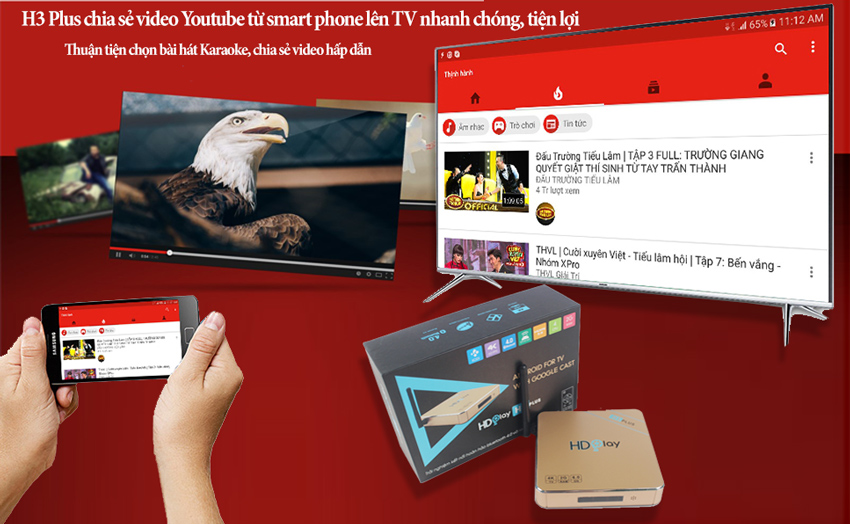 HDplay H3 Plus – Ram 2G, Android 6 0, Bluetooth 4 0, Kèm chuột bay KM800